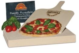 4cm Pimotti Pizzastein/Brotbackstein aus Schamott +Schaufel +Anleitung & Rezepte im Set - 1