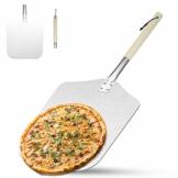 AngLink Pizzaschaufel, Aluminium Pizzaschieber mit Abnehmbarer Holz-Griff Brotschieber für Pizzaofen BBQ, 30.5x35.5x66cm - 1