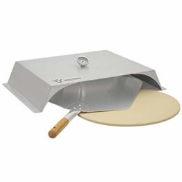 BBQ-Toro Pizzaaufsatz für Gasgrill | Edelstahl | 56 x 39 cm | Pizzacover mit Thermometer | Pizzahaube (Pizzaaufsatz mit Pizzastein und Schaufel) - 1
