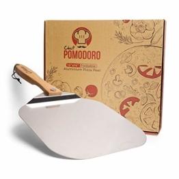 Chef Pomodoro Pizzaschieber mit einklappbarem Holzgriff, 30,5 cm x 35,5 cm - Hochwertige Pizzaschaufel aus Aluminium - Gourmet Pizzaheber für hausgemachte Pizzen, Backen, Brot - Pizza Zubehör - 1