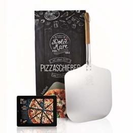 DOLCE MARE® Pizzaschieber - Aluminium Pizzaschaufel mit robustem Eichenholzgriff für eine angenehme Handhabung - Pizza Paddle entwickelt für den empfindlichen Pizzaboden - Pizzaheber | Brotschieber - 1