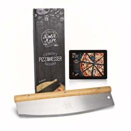 DOLCE MARE® Pizzaschneider - Vielseitig einsetzbares Wiegemesser mit edlem Griff aus Eichenholz - Pizzamesser mit extra scharfer Edelstahlklinge - Inklusive Klingenschutz & Anleitung - 1