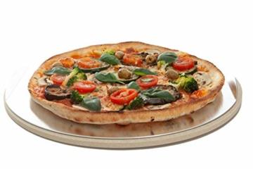 Jamie Oliver BBQ Pizzastein für den perfekt gebackenen Boden - Brotbackstein für Backofen Holz- und Gasgrill - Pizza Stein mit Aluminium Pizzaheber zum Servieren - Rund Ø 33 cm - 3
