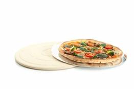 Jamie Oliver BBQ Pizzastein für den perfekt gebackenen Boden - Brotbackstein für Backofen Holz- und Gasgrill - Pizza Stein mit Aluminium Pizzaheber zum Servieren - Rund Ø 33 cm - 1