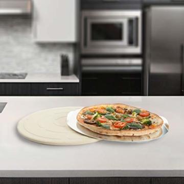 Jamie Oliver BBQ Pizzastein für den perfekt gebackenen Boden - Brotbackstein für Backofen Holz- und Gasgrill - Pizza Stein mit Aluminium Pizzaheber zum Servieren - Rund Ø 33 cm - 6
