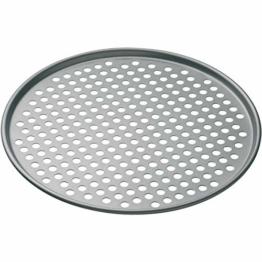 KitchenCraft Antihaft-Pizza-Backblech mit Löchern, edelstahl, grau, 32 x 32 x 1 cm - 1