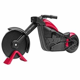 KUONIIY Motorrad Pizzaschneider, Edelstahl Kunststoff Pizzaroller, Pizzarad als schöne Dekor, Ideales Geschenk (21,5 * 8,5 cm, schwarz & rot) - 1