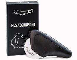 Mattensäbel - Pizzaroller mit einer harten Klinge aus Keramik -Scharfer Profi-Pizzaschneider für geringen Kraftaufwand - leicht zu reinigen - mit Klingenschutz - 1