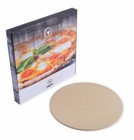 Moesta-BBQ 10374 Pizzastein No. 1 - Rund Ø 41 cm aus Cordierit Naturstein für Pizza-Genuss wie aus dem Steinofen beim Italiener. - 1