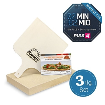 Pimotti Pizzastein 3cm inkl Rezeptheft Pizzaschaufel | Pizzaboden Pizza cross backen | Pizza daheim wie im Steinofen | Das Original aus dem TV 2 Minuten 2 Millionen powered by Mediashop - 2