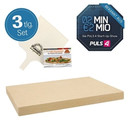 Pimotti Pizzastein 3cm inkl Rezeptheft Pizzaschaufel | Pizzaboden Pizza cross backen | Pizza daheim wie im Steinofen | Das Original aus dem TV 2 Minuten 2 Millionen powered by Mediashop - 1