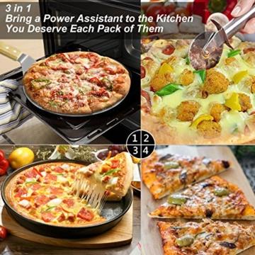 Pizzaschieber Pizzaschaufel TedGem Pizzaschieber edelstahl, Pizzaschneider 3 in 1 Pizzaschaufel mit Holzgriff 430 Edelstahl Zum Backen Hausgemachte Pizza und Brot Kuchen & Kekse Kuchen Torten - 2