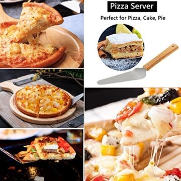 Pizzaschieber Pizzaschaufel TedGem Pizzaschieber edelstahl, Pizzaschneider 3 in 1 Pizzaschaufel mit Holzgriff 430 Edelstahl Zum Backen Hausgemachte Pizza und Brot Kuchen & Kekse Kuchen Torten - 3