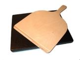 Pizzastein, Brotbackstein aus glasiertem Cordierit 375x295x19mm mit Holzschieber 46x30cm - 1