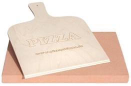 PIZZASTEIN/BROTBACKSTEIN Set, extra Dicker Schamottestein eckig 40x30x3cm mit Pizzaschaufel - für Backofen und Grill - wie aus dem Pizzaofen - 1