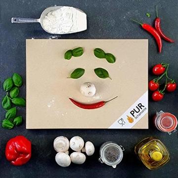 PUR Schamotte® Pizzastein Brotbackstein für Backofen Gasgrill Kohlegrill 40 x 30 cm x 25 mm Rechteckig Schamott - 3