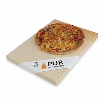 PUR Schamotte® Pizzastein Brotbackstein für Backofen Gasgrill Kohlegrill 40 x 30 cm x 25 mm Rechteckig Schamott - 1