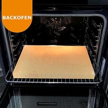 PUR Schamotte® Pizzastein Brotbackstein für Backofen Gasgrill Kohlegrill 40 x 30 cm x 25 mm Rechteckig Schamott - 5