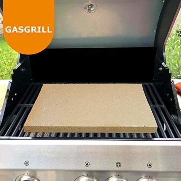 PUR Schamotte® Pizzastein Brotbackstein für Backofen Gasgrill Kohlegrill 40 x 30 cm x 25 mm Rechteckig Schamott - 6