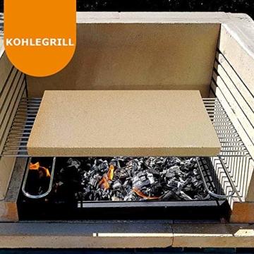 PUR Schamotte® Pizzastein Brotbackstein für Backofen Gasgrill Kohlegrill 40 x 30 cm x 25 mm Rechteckig Schamott - 7