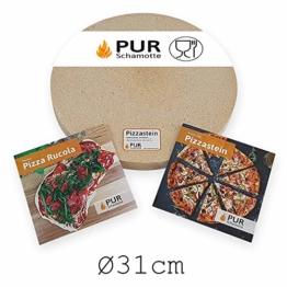 PUR Schamotte Pizzastein rund 31 cm x 30 mm Für Gasgrill, Für Grill, Brotbackstein Für Backofen Schamott - 1