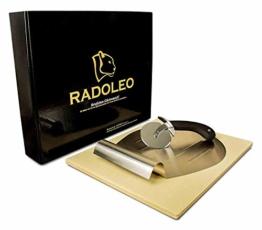 RADOLEO® Pizzastein L aus Cordierit - Premium Set mit Pizza-Roller & Pizzaschaufel | für Gas Grill & Back-Ofen | edle Verpackung | 38x30x1,3cm - 1