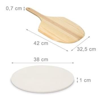 Relaxdays Pizza Set, runder Pizzastein aus Cordierit, Pizzaschaufel Holz, Steinplatte 38cm Ø für Backofen & Grill, grau - 2