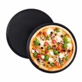 Relaxdays Pizzablech, 2er Set, rund, antihaftbeschichtet, Pizza & Flammkuchen, Carbonstahl, Pizzaform, ∅ 32 cm, grau - 1