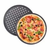 Relaxdays Pizzablech, 2er Set, rund, gelocht, antihaft, Pizza & Flammkuchen, Carbonstahl, Knusperblech, ∅ 32 cm, grau - 1