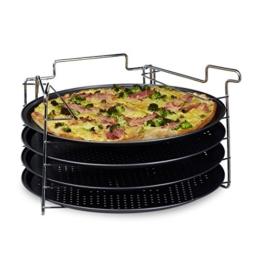 Relaxdays Pizzablech im 4er Set HBT: 20 x 32 x 32 cm Pizzabäcker-Set mit 4 Backblechen und Ständer als Pizza-Backblech und Flammkuchen Blech rundes Pizzabackblech mit Antihaftbeschichtung, anthrazit - 1