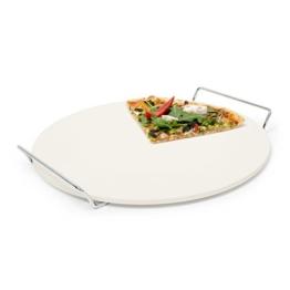 Relaxdays Pizzastein mit Halter, runde Steinplatte für Pizza & Flammkuchen, Grillstein aus Cordierit, 33 cm Ø, beige - 1