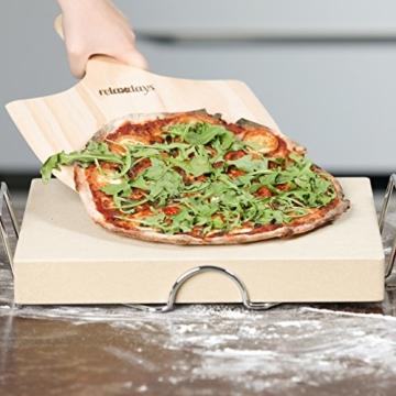Relaxdays Pizzastein Set 5 cm Stärke mit Metallhalter und Pizzaschieber aus Holz HBT 7 x 43 x 31,5 cm rechteckiger Brotbackstein für Pizza und Flammkuchen mit Pizzaschaufel für Pizzaofen, natur - 2
