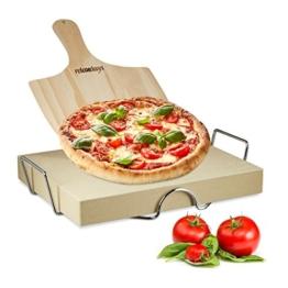 Relaxdays Pizzastein Set 5 cm Stärke mit Metallhalter und Pizzaschieber aus Holz HBT 7 x 43 x 31,5 cm rechteckiger Brotbackstein für Pizza und Flammkuchen mit Pizzaschaufel für Pizzaofen, natur - 1