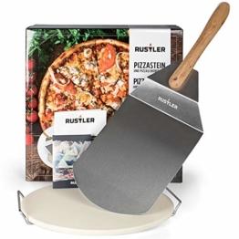 Rustler Pizzastein-/ Brotbackstein ø38 cm mit Edelstahl-Gestell + Pizzaschieber aus Edelstahl | für Pizza, Flammkuchen & Brot | für Backöfen, Holzkohle- und Gasgrills geeignet | in Geschenkverpackung - 1