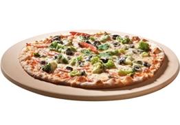 SANTOS Runder Premium Pizzastein - Ø 26 cm - bis 1.000 Grad - für Gasgrills, Backofen, Holzkohlegrills, Brotbackbackstein geeignet - 1