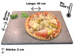 Splittprofi Brotbackstein/Pizzastein aus Naturstein 40 cm x 30 cm x 2 cm Made in Germany Grill o Backofen - 1