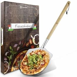 SQUALIPRODU ® Pizzaschieber - Pizzaschaufel aus rostfreiem Edelstahl und Pappelholz - stabiles Gewinde & robuster Holzstab - extra lang - entgratet - Schlaufe zum Aufhängen - 1