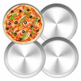 TEAMFAR Pizzablech 4er-Set, Edelstahl Rund Pizzaform Pizza Backblech zum Backen im Ofen, ∅ 26 cm, Gesund & Langlebig, Leicht zu reinigen & Spülmaschinengeeignet - 1