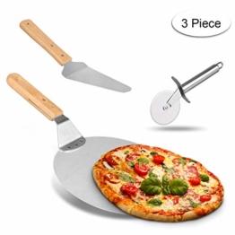 Weeygo Edelstahl-Radschneider mit Holzgriff, zum Backen von Pizza und Kuchen auf Ofen und Grill, 3 Stück, silberfarben - 1