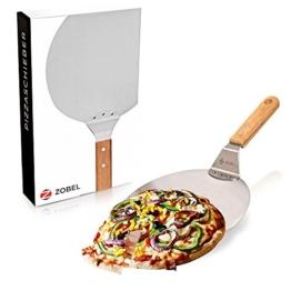 Zobel Pizzaschieber - Edelstahl Pizzaschaufel für eine extra angenehme Handhabung - Robuster Brotschieber mit Holzgriff für einen perfekten Halt I Flammkuchenbrett I Pizzaheber - 1